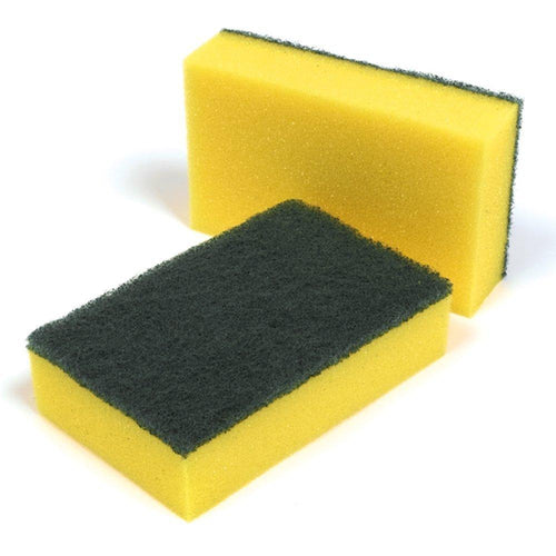 Scourer Sponge-Yellow & Green- 15cm x 10cm x 3cm (10/pack) - Virgara Fruit & Veg, Adelaide wide free fresh fruit & veg delivery