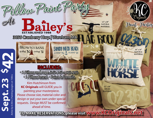 Bailey's Surf & Turf - Pillow Paint Party - DEPOSIT $20 balance will be due night of party
