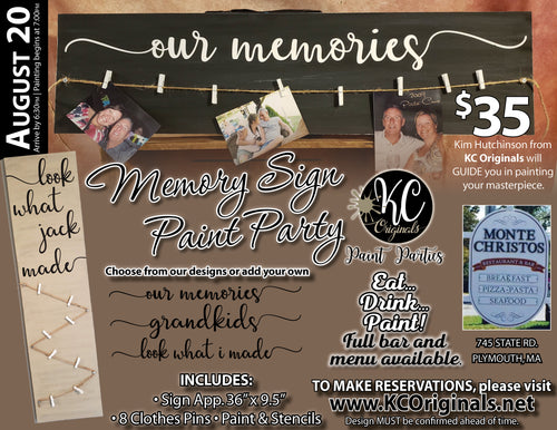 Monte Christos -Memory Sign Paint Party - DEPOSIT $20 balance will be due night of party