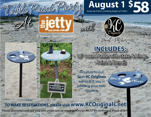 Table Paint Party - The Jetty - DEPOSIT - $20 Balance will be due night of party
