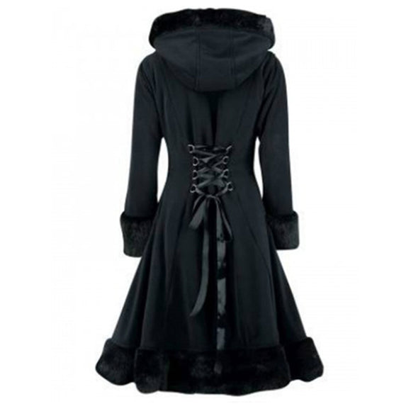 Women Black Hooded Winter Wool Coat Full Sleeve Autumn Winter Warm Female Long Cloaks Outwear Back Lace Up Wool Coat