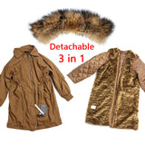 Winter jacket Women 2017 Brand Large Natural Raccoon Fur Collar Hooded Coat Parkas Outwear Long Detachable Lining Femal Parka