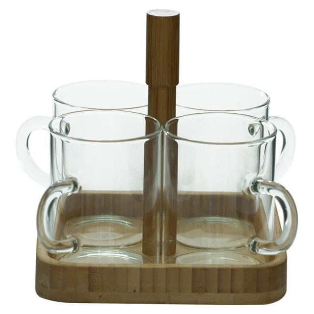 Glass Cup Set With Bamboo Tray - NaturAmericas Market