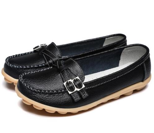 Black Double Buckle Nodule Shoe