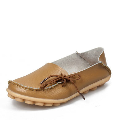 Khaki Leather Shoes Moccasins with Nodule Soles