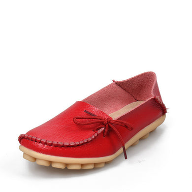 Red Leather Shoes Moccasins with Nodule Soles