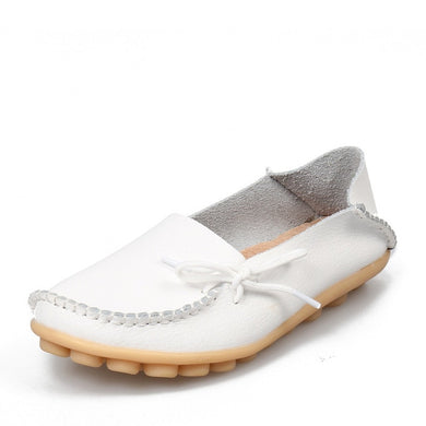 White Leather Shoes Moccasins with Nodule Soles