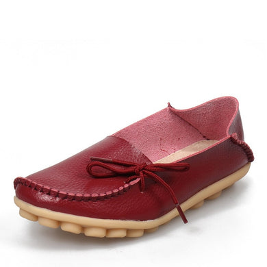 Wine Red Leather Shoes Moccasins with Nodule Soles