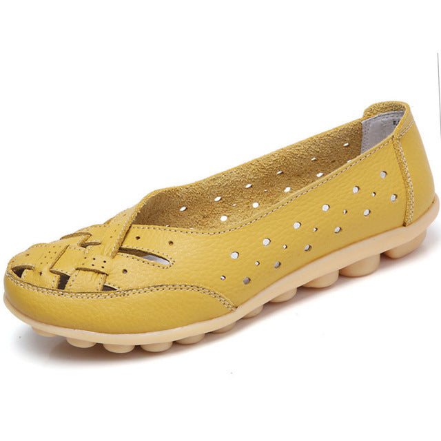 Yellow Summer Breathable Lattice Nodule Shoes