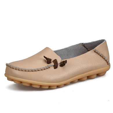 Beige Loafer Moccasins with Side Lace