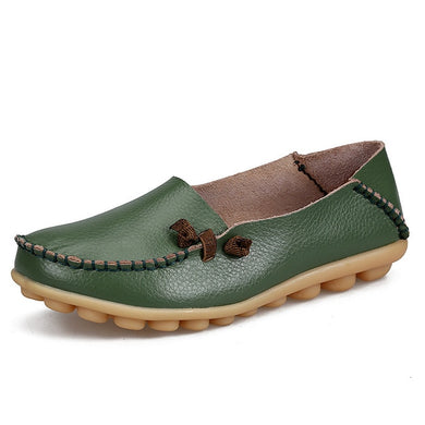 Army Green Loafer Moccasins with Side Lace