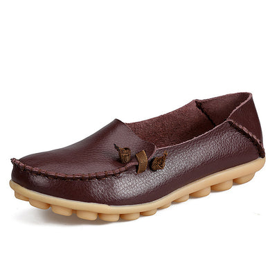 Coffee Loafer Moccasins with Side Lace