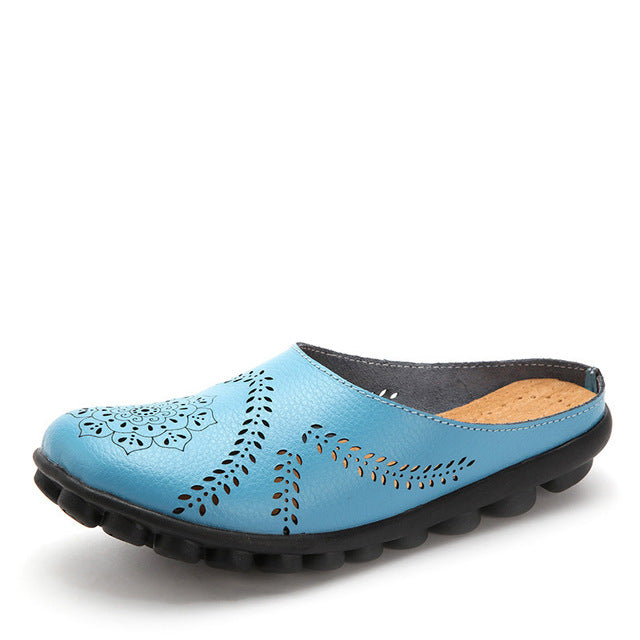 Light Blue Slipper Slip On Leather Nodule Shoes