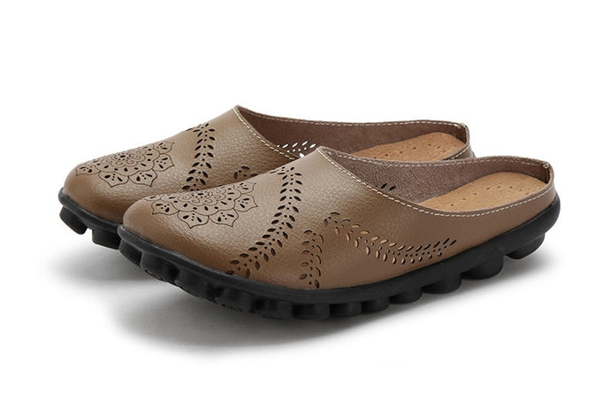 Khaki Slipper Slip On Leather Nodule Shoes
