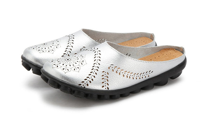 Silver Slipper Slip On Leather Nodule Shoes