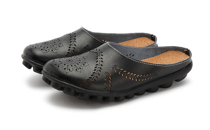 Black Slipper Slip On Leather Nodule Shoes