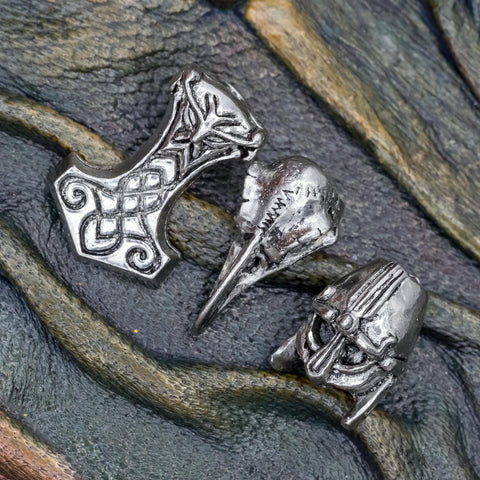 Helmet Raven & Mjolnir Hair Bead Set of 3