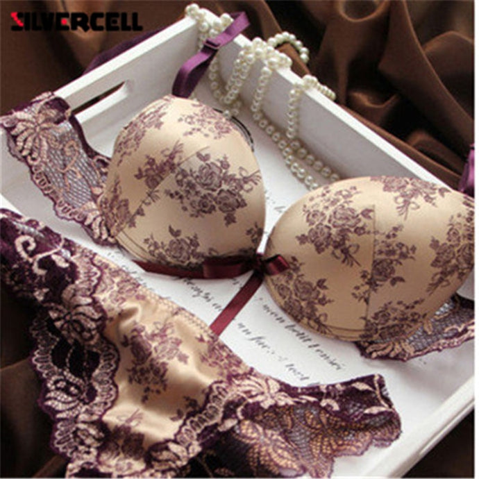 Ladies Romantic French European Lace Push Up Bra And Panties Set