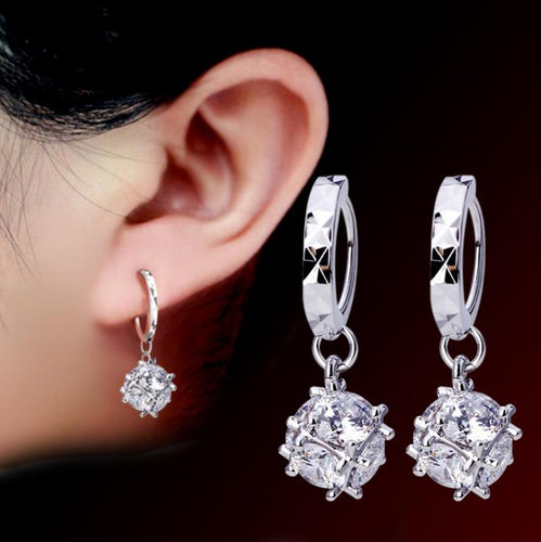 Ladies Genuine 925 Sterling Silver Plated Caged Zircon Crystal Ball Earrings