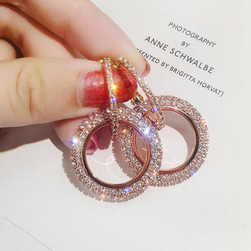 Ladies NEW STYLE BLING Full Crystal Circle Shiny Sparkly Hoop Earrings