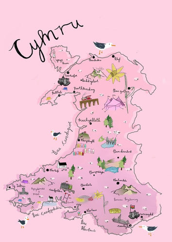 Pink Map of Wales