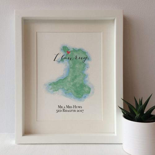 Personalised Watercolour Map of Wales