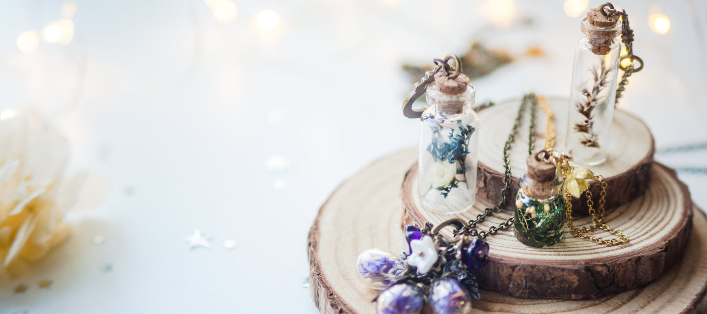 Handmade dried flower necklaces and terrariums on 13th psyche
