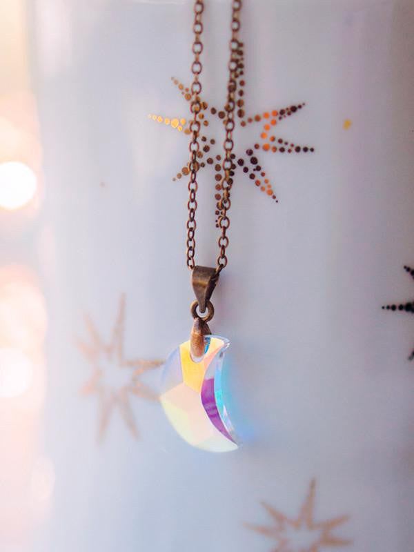 Handmade White Swarovski moon necklace, moon choker | 13th Psyche