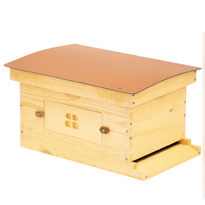Side view of Deep Standard Langstroth for beekeeping with copper composite roof