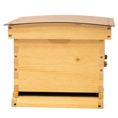 Front view of Deep Standard Langstroth for beekeeping with copper composite roof