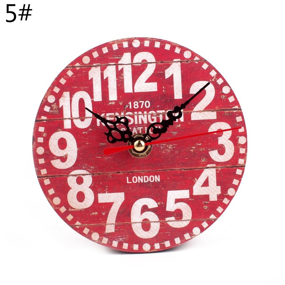 12Cm Mdf Wooden Wall/table/desk Clock Modern Vintage Rustic Shabby Chic Home Decor | Edlpe