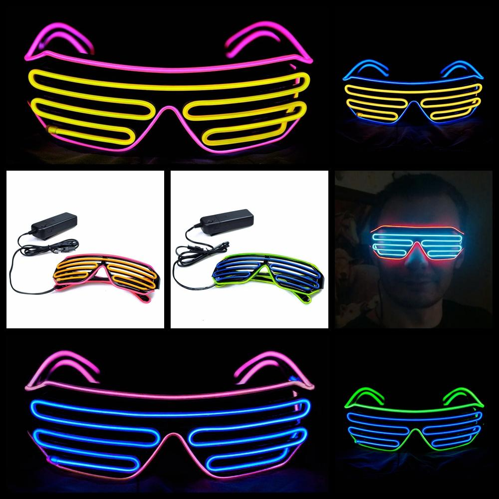El Neon Shutter Glasses Club Dance Christmas Light Up El Wire Costumes Eyeglass | Edlpe