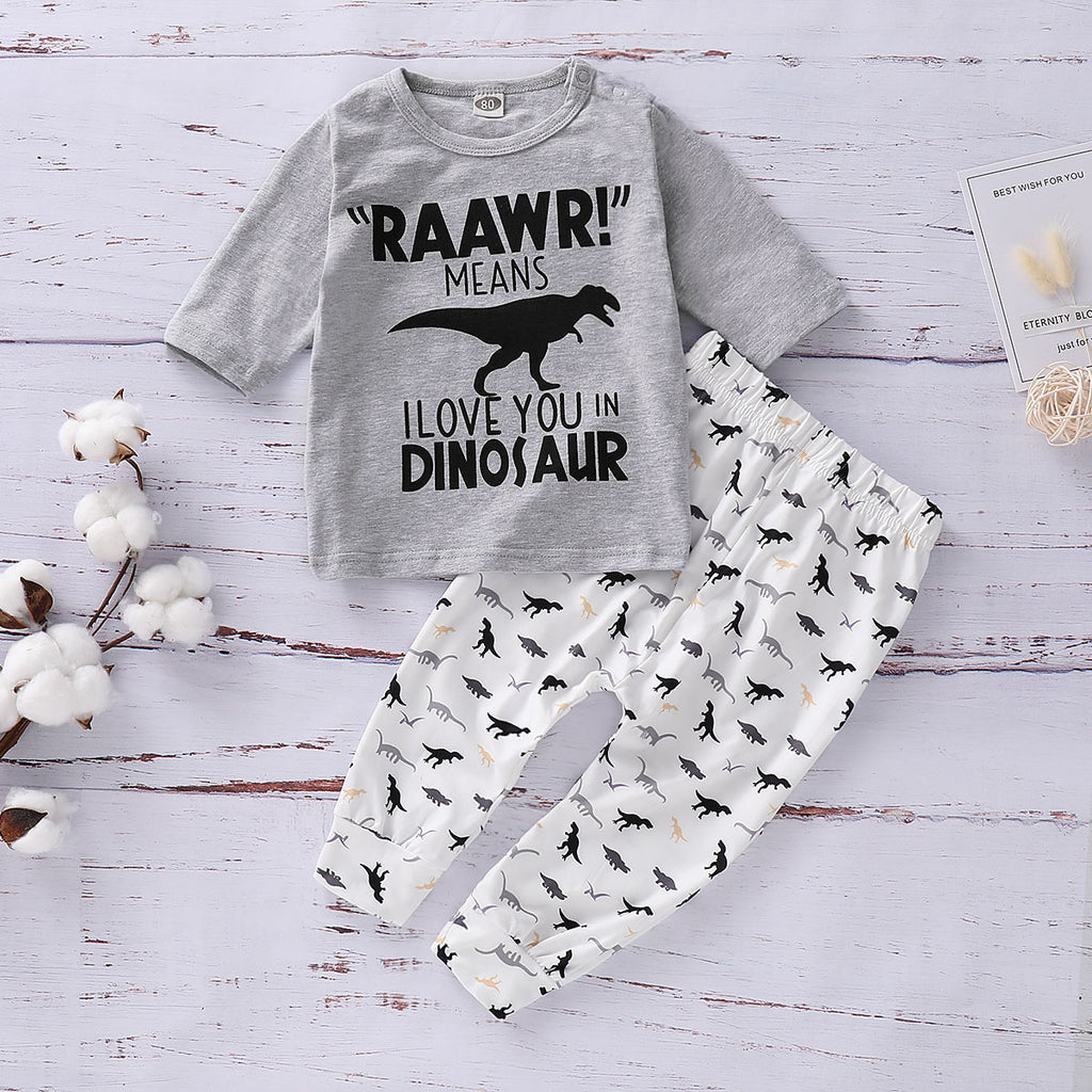 Baby Boys Dinosaur Print 2Pcs Outfits Set Shirt Tops Pant Kids Clothes Romper | Edlpe