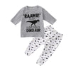 Image of Baby Boys Dinosaur Print 2Pcs Outfits Set Shirt Tops Pant Kids Clothes Romper | Edlpe