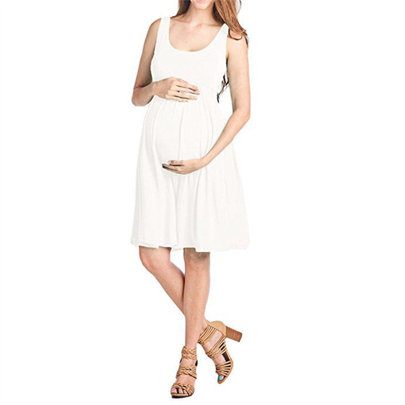 Concise Maternity Pure Color Deep Scoop Neck Sleeveless Pleated A-Line Dress | Edlpe