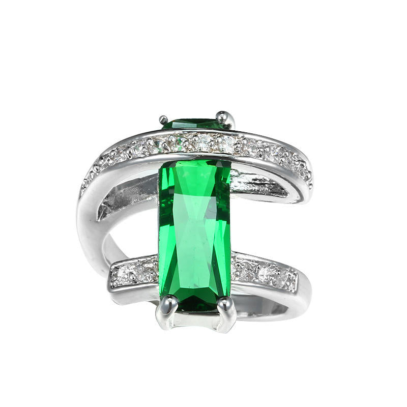 Classic Square Green Zircon Rings For Women Party Holiday Christmas Gifts | Edlpe