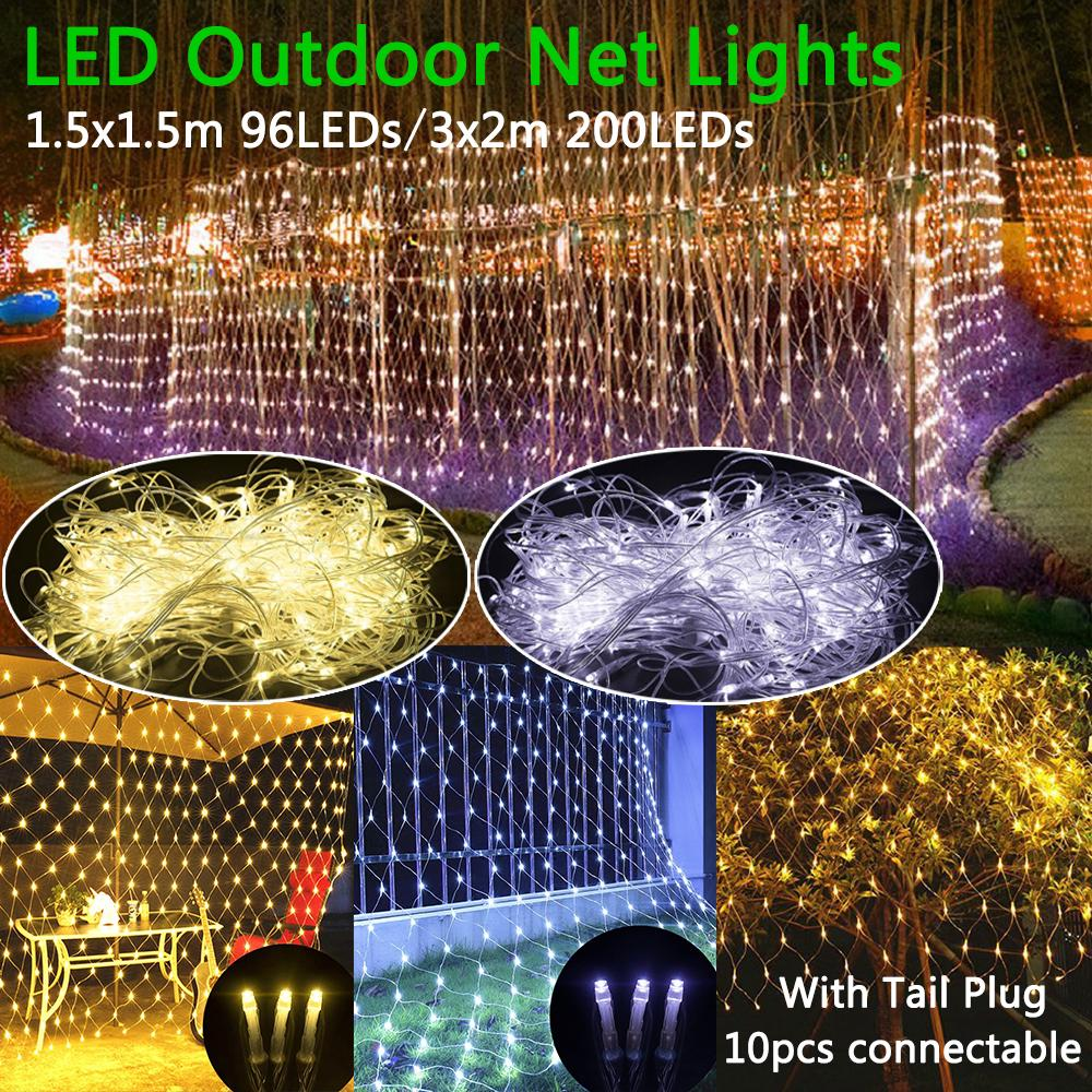 Led Net Mesh Waterproof String Light With Tail Plug Ac 110V/1.5X1.5M 96Led And 3X2M 200Led | Edlpe