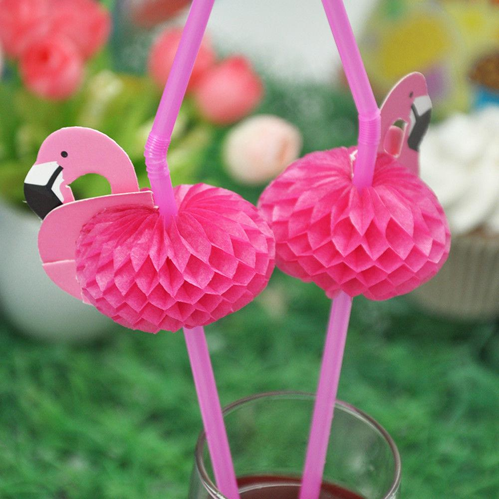 10Pcs/set 3D Flamingo Cocktails Party Drinking Straws Hawaiian Party Luau Fun Accessories Decor | Edlpe