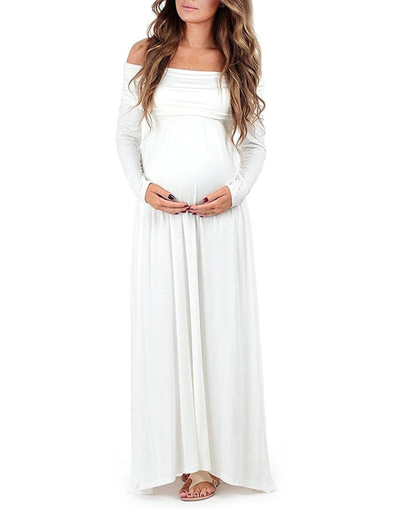 Autumn Cotton Blend Maternity Long Sleeves Loose Maxi Dress | Edlpe