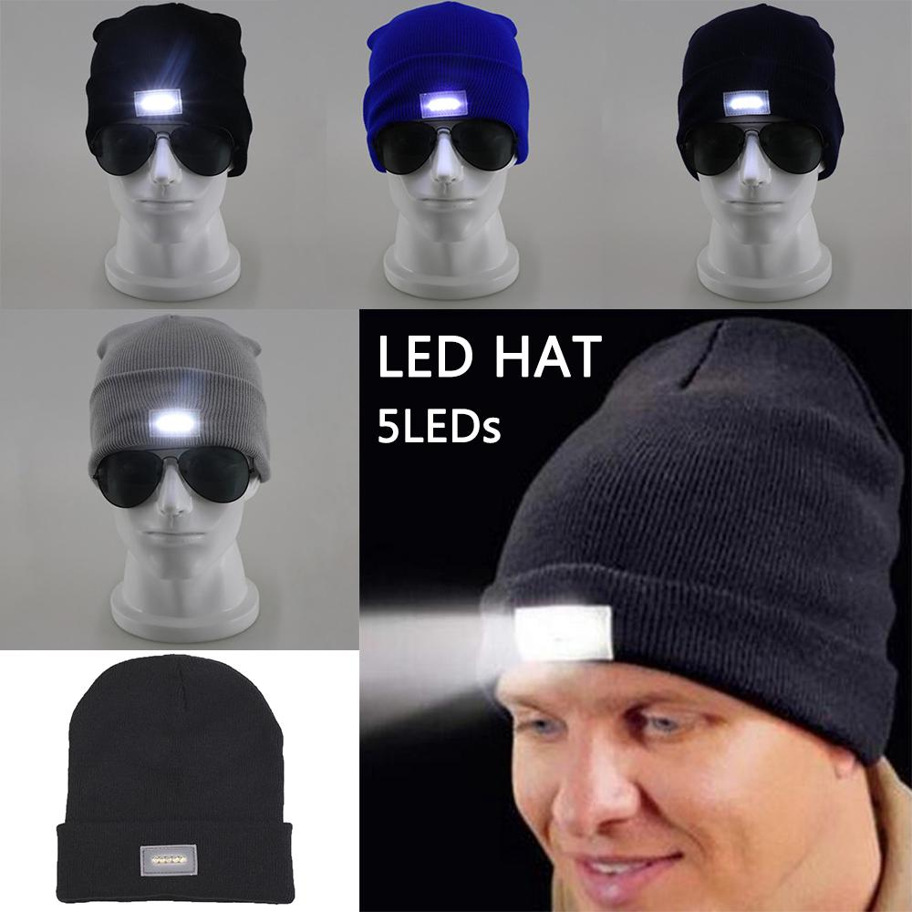 5 Led Lighted Cap Hat Winter Warm Beanie Angling Hunting Camping Running Fishing | Edlpe