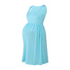 Image of Concise Maternity Pure Color Deep Scoop Neck Sleeveless Pleated A-Line Dress | Edlpe