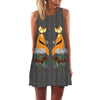 Image of Women Round Neck Sleeveless Digital Printing A-Line Summer Bohemian Mini Dress