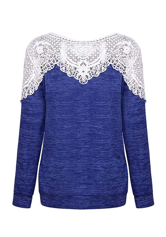 Casual Hollow Lace Round Neck Long Sleeves Knitwear | Edlpe