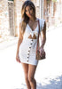 Image of Charming Sleeveless Cut Out Tie Front Button Bodycon Dress | Edlpe