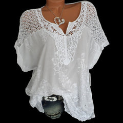 4XL Women's Lace Blouses Sexy V Neck Short Sleeve Embroidered Batwing Loose Shirt Summer White Tops Sweet Plus Size 5XL Shirts