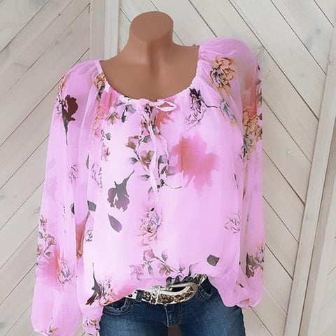 blouse Women Chiffon Shirt Casual Tops with lined New Full Sleeve Round Neck Print Spring And Summer Loose Blusas 5xl Plus Size