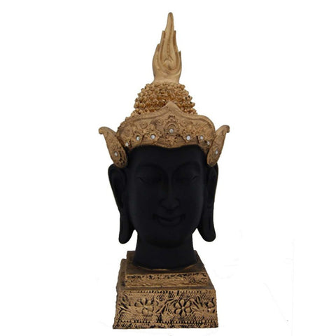 Grand 14 Inches Buddha Head Beautiful Gold & Black - Divya Mantra