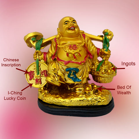 Divya Mantra Happy Man Laughing Buddha Holding Wealth Coin and Ingots Statue For Attracting Money Prosperity Financial Luck Home Decor Gift