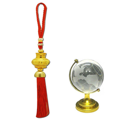 Divya Mantra Car Decoration Rear View Mirror Hanging Accessories Tibetan decor and and Feng Shui Crystal Globe for Success - Divya Mantra