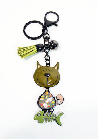 Lacquered Metal Cat Key Ring - edocollection